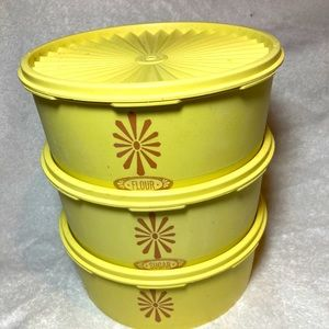 vintage Tupperware Servalier 3 canisters 1204-6